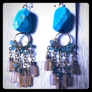 Jewelry - Genuine Stone and Crystal Chandelier Earrings!